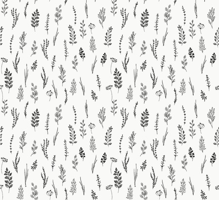 Hand drawn seamless pattern of culinary herb. Basil, mint, rosemary, sage, thyme, parsley, oregano, onion. Food design elements