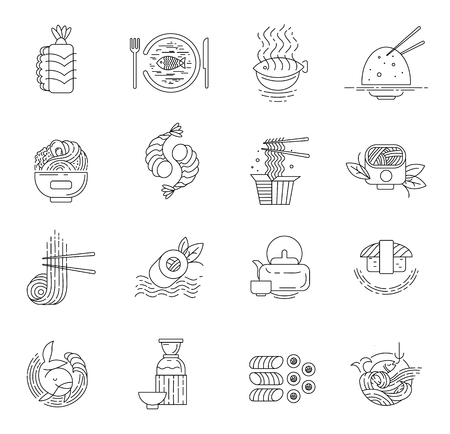 Vector icon and logo for asian, japan food and seafood. Editable outline stroke size. Line flat contour, thin and linear design. Simple icons. Concept illustration. Sign, symbol, element. Archivio Fotografico - 113853752