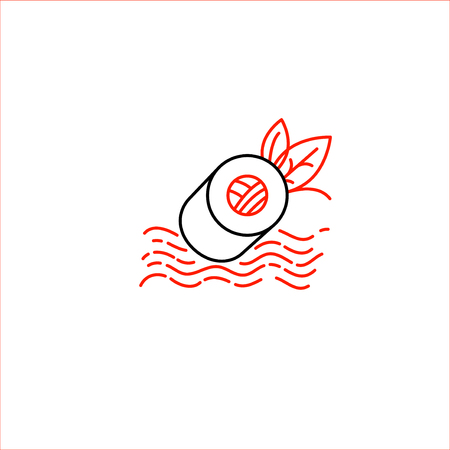 Vector icon and logo for asian, japan food and seafood. Editable outline stroke size. Line flat contour, thin and linear design. Simple icons. Concept illustration. Sign, symbol, element. Archivio Fotografico - 113853756