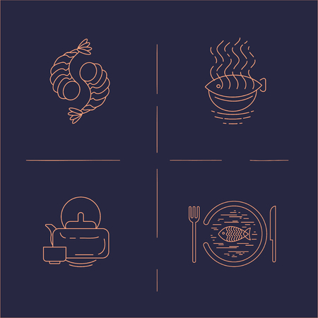 Vector icon and logo for asian, japan food and seafood. Editable outline stroke size. Line flat contour, thin and linear design. Simple icons. Concept illustration. Sign, symbol, element. Archivio Fotografico - 113853781