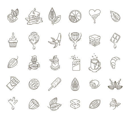 Vector icon and logo for chocolate and sweet. Editable outline stroke size. Line flat contour, thin and linear design. Simple icons. Concept illustration. Sign, symbol, element. Stock Vector - 113853791