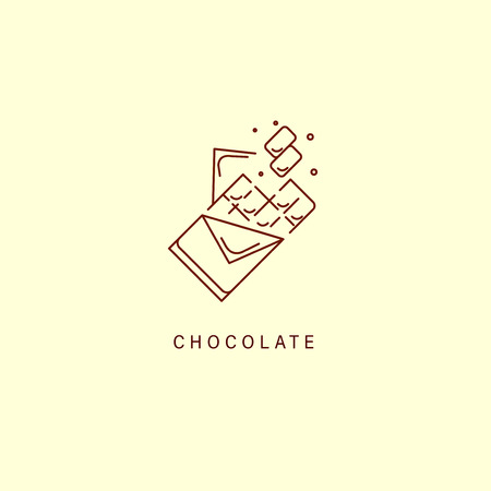 Vector icon and logo for chocolate and sweet. Editable outline stroke size. Line flat contour, thin and linear design. Simple icons. Concept illustration. Sign, symbol, element. Stock Vector - 113853794