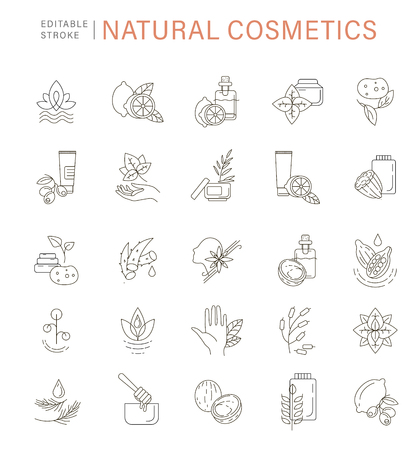 Vector icon and logo for natural cosmetics and care dry skin. Editable outline stroke size. Line flat contour, thin and linear design. Simple icons. Concept illustration. Sign, symbol, element.