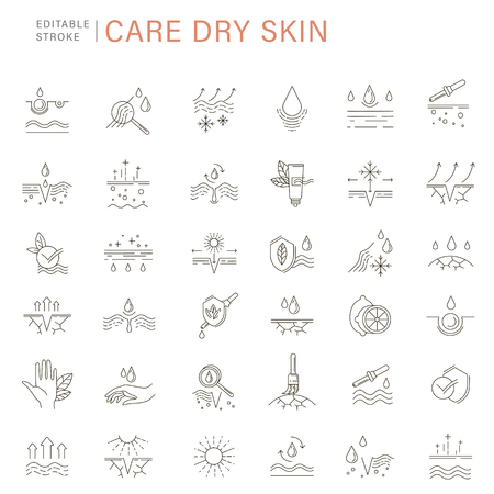 Vector icon and logo for natural cosmetics and care dry skin. Editable outline stroke size.Vitamin E, olive oil, collagen and serum drop elements. Concept illustration. Sign, symbol, element. Vettoriali