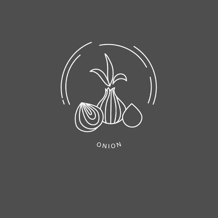 Icona di vettore e logo per spezie ed erbe aromatiche. Dimensione del tratto modificabile del contorno. Linea contorno piatto, design sottile e lineare. Icone semplici. Illustrazione di concetto. Segno, simbolo, elemento.