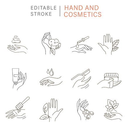 Vector icon and logo for natural cosmetics with hand and care dry skin. Editable outline stroke size. Line flat contour, thin and linear design. Simple icons. Concept illustration. Sign, symbol, element. Illustration