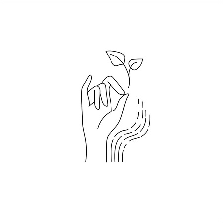 Vector icon and logo with hand for natural cosmetics and care dry skin. Editable outline stroke size. Line flat contour, thin and linear design. Simple icons. Concept illustration. Sign, symbol, element. Stockfoto - 113853934
