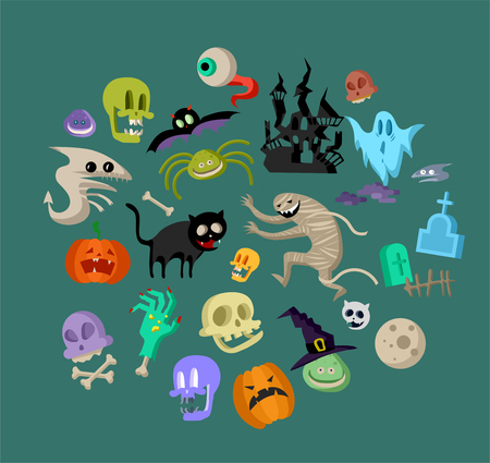Vector icon and element for Helloween. greeting card for Happy Halloween design icon. Concept illustration. Sign and symbol, element. Иллюстрация