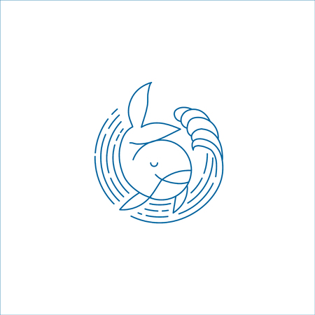 Vector icon and logo for sea or fish, asian food and seafood. Editable outline stroke size. Line flat contour, thin and linear design. Simple icons. Concept illustration. Sign, symbol, element. Vectores