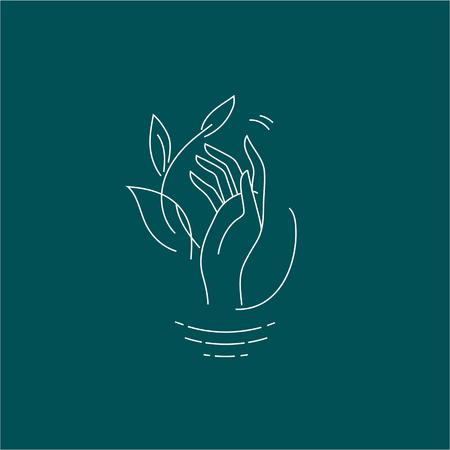 Vektorsymbol und Logo mit Hand für Naturkosmetik und Pflege trockener Haut. Bearbeitbare Konturstrichgröße. Linie flache Kontur, dünnes und lineares Design. Einfache Symbole. Konzept-Abbildung. Zeichen, Symbol, Element. Logo