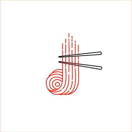 Icono de vector y logotipo para comida asiática, japonesa y mariscos. Tamaño de trazo de contorno editable. Línea de contorno plano, diseño delgado y lineal. Iconos simples. Ilustración de concepto. Signo, símbolo, elemento. Logos