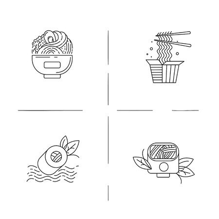Vector icon and logo for asian, japan food and seafood. Editable outline stroke size. Line flat contour, thin and linear design. Simple icons. Concept illustration. Sign, symbol, element. Archivio Fotografico - 113854038