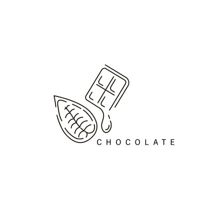 Vector icon and logo for chocolate and sweet. Editable outline stroke size. Line flat contour, thin and linear design. Simple icons. Concept illustration. Sign, symbol, element. Stock Vector - 113854141