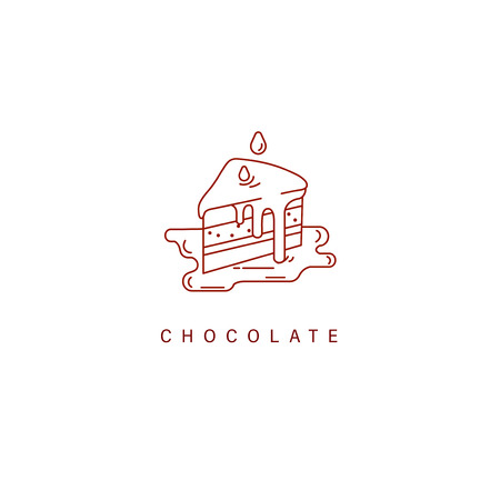 Vector icon and logo for chocolate and sweet. Editable outline stroke size. Line flat contour, thin and linear design. Simple icons. Concept illustration. Sign, symbol, element. Vectores