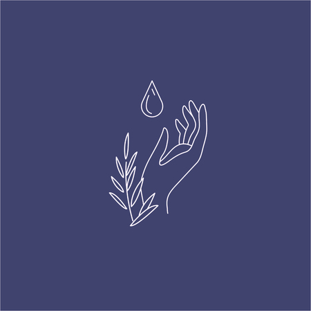 Vector icon and logo with hand for natural cosmetics and care dry skin. Editable outline stroke size. Line flat contour, thin and linear design. Simple icons. Concept illustration. Sign, symbol, element. Stock Illustratie