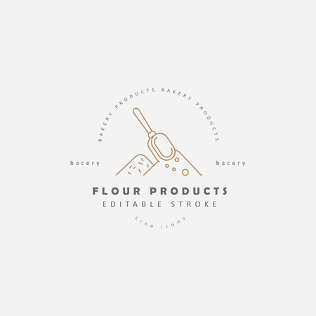 Vector icon and logo for natural flour product and bacery. Editable outline stroke size. Line flat contour, thin and linear design. Simple icons. Concept illustration. Sign, symbol, element. 写真素材 - 113854211