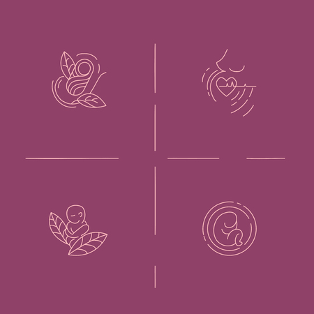 Vector icon and logo for pegnancy and gynecology. Editable outline stroke size. Line flat contour, thin and linear design for adoption and babysitter. Simple icons. Concept illustration. Sign, symbol, element. Illustration