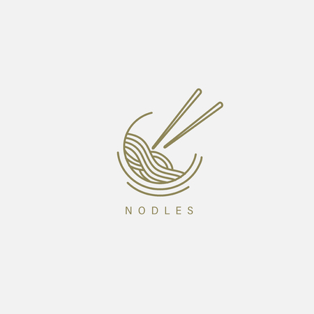 Vector icon and logo for italian pasta or noodles. Editable outline stroke size. Line flat contour, thin and linear design. Simple icons. Concept illustration. Sign, symbol, element. Иллюстрация