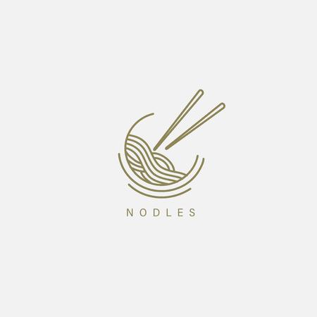 Vectorpictogram en logo voor Italiaanse pasta of noedels. Bewerkbare omtreklijngrootte. Lijn platte contour, dun en lineair ontwerp. Eenvoudige pictogrammen. Concept illustratie. Teken, symbool, element.