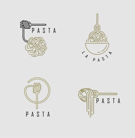 Icona di vettore e logo per pasta o noodles italiani. Dimensione del tratto modificabile del contorno. Linea contorno piatto, design sottile e lineare. Icone semplici. Illustrazione di concetto. Segno, simbolo, elemento. Logo
