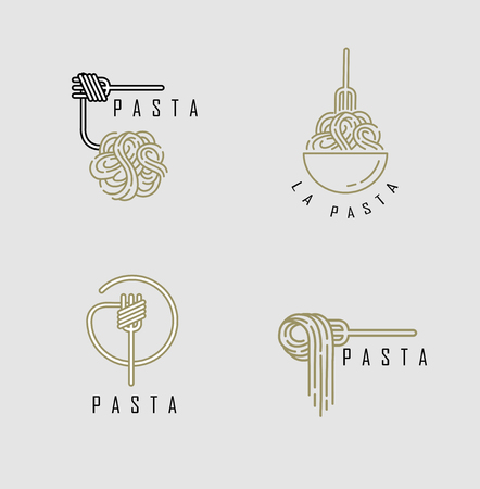 Vector icon and logo for italian pasta or noodles. Editable outline stroke size. Line flat contour, thin and linear design. Simple icons. Concept illustration. Sign, symbol, element.  イラスト・ベクター素材