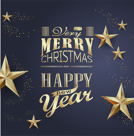 Elegant Christmas and happy New Year Background with Gold Shining decoration. Vector illustration Stock Vector - 126871488