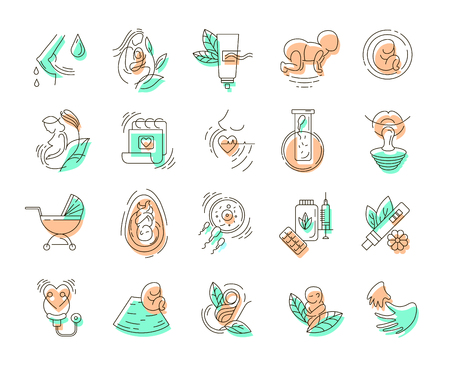 Vector icon and logo for pegnancy and gynecology. Editable outline stroke size. Line flat contour, thin and linear design for adoption and babysitter. Simple icons. Concept illustration. Sign, symbol, element. Ilustracja