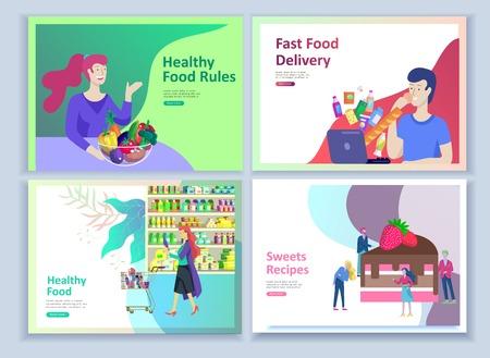 Modèles de page de destination avec des personnes qui préparent des aliments biologiques sains, des recettes simples, comment choisir les produits au supermarché, la livraison de nourriture et la restauration rapide. Blog culinaire ou concept de régime