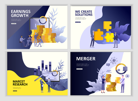 Set Landing page template people business app, marcet research, merger, focus group research and earnings growth, start up and solution. Vector illustration concept website mobile development  イラスト・ベクター素材