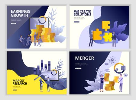 Legen Sie Landing Page Template People Business App, Marktforschung, Fusion, Fokusgruppenforschung und Gewinnwachstum, Start und Lösung fest. Mobile Entwicklung der Vektorillustrationskonzept-Website
