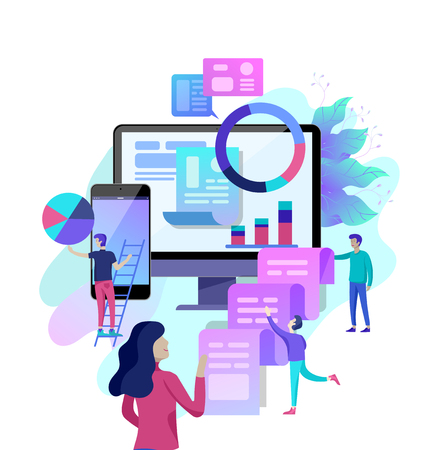 Concept illustration of business, office workers analysis of the evolutionary scale, SEO, market research Web site coding, internet search optimization, banner, presentation, social media