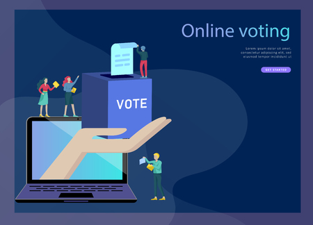 Voting and Election concept. Pre-election campaign. Promotion and advertising of candidate. Citizens debating candidates for voting and voting Online voting and election concept with people.