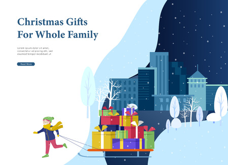 Landing page template greeting card winter Holidays. Merry Christmas and Happy New Year Website. Character little girl to drag sleigh with a lot of gifts in park on snowy landscape background 일러스트
