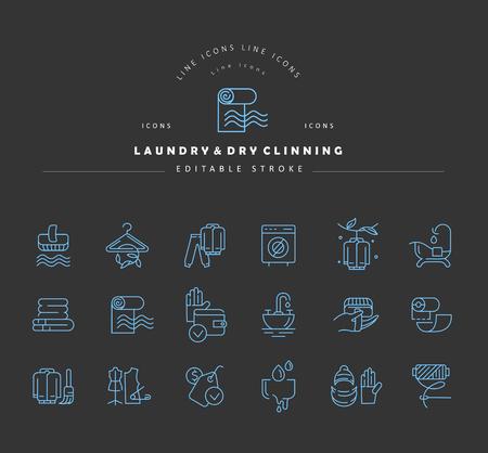 Vektorsymbol und Logo für Wäscherei und Trockenwäsche. Bearbeitbare Konturstrichgröße. Linie flache Kontur, dünnes und lineares Design. Einfache Symbole. Konzept-Abbildung. Zeichen, Symbol, Element. Logo