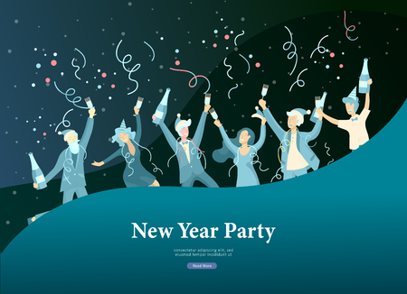 Landing page template or card winter Holidays corporate Party. Merry Christmas and Happy New Year Website with People Characters. Company of young friends or colleagues celebrates