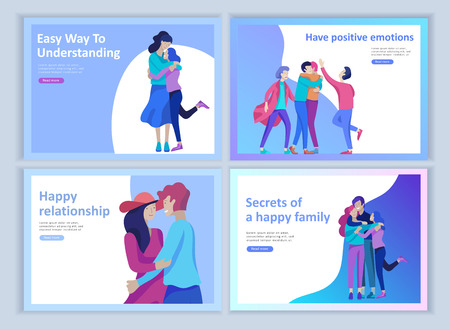 Set of Landing page templates for positive psychology, group family psychotherapy. Happy friends character have positive emotions, way to happiness and happy life munderstanding with friends and loved 向量圖像