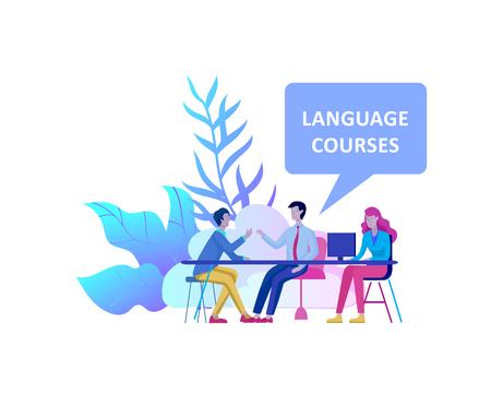 Online-Sprachkurse, Fernunterricht, Ausbildung. Sprachlernschnittstelle und Lehrkonzept. Bildungskonzept, junge Leute ausbilden. Internet-Studenten