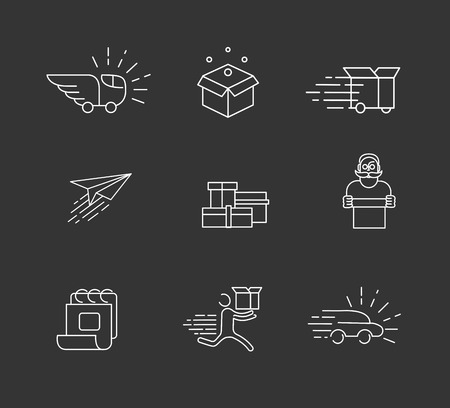 Vector icon and logo for moving to a new home. Editable outline stroke size. Line flat contour, thin and linear design. Simple icons. Concept illustration. Sign, symbol, element. Logo