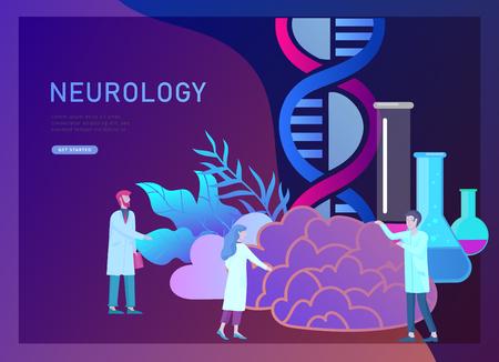 Concepto de genética de neurología. Equipo médico de médicos de personas pequeñas de estilo plano trabajando, construyendo ADN, investigando el ácido desoxirribonucleico. Cerebro, mente creativa, aprendizaje y diseño de plantilla de página de destino. Ilustración de vector