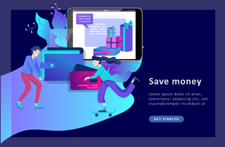 Landing page template of Online Shopping people and mobile payments. Vector illustration pos terminal confirms the payment using a smartphone, Mobile payment, online banking. Vettoriali