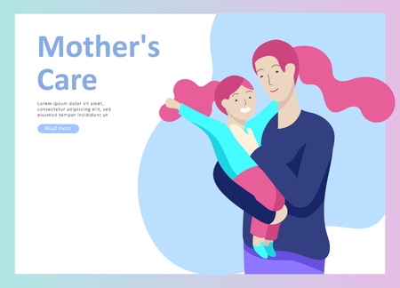 Set of Landing page templates for happy mothers day, child health care, happy childhood and children, goods and entertainment for mother with children. Parent with daughter or son have fun togethers Zdjęcie Seryjne - 113854665