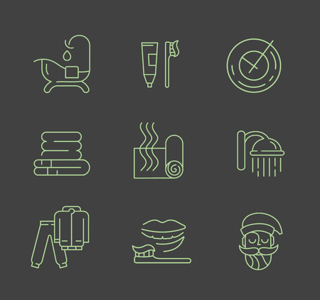 Vector icon and logo for sleeping. Editable outline stroke size. Line flat contour, thin and linear design. Simple icons. Concept illustration. Sign, symbol, element. 向量圖像