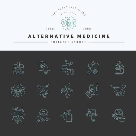 Vector icon and logo for alternative medicine. Editable outline stroke size. Line flat contour, thin and linear design. Simple icons. Concept illustration. Sign, symbol, element. Ilustrace