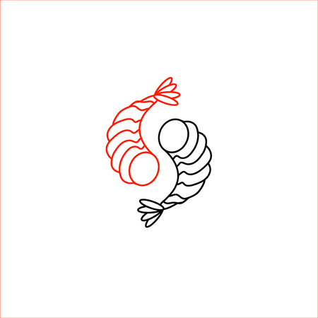 Vector icon and logo for asian, japan food and seafood. Editable outline stroke size. Line flat contour, thin and linear design. Simple icons. Concept illustration. Sign, symbol, element. Archivio Fotografico - 113854839