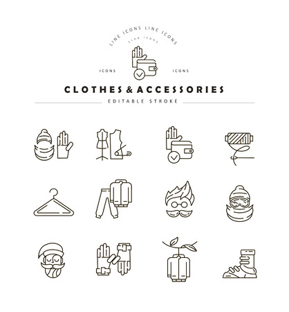 Vector icon and logo for clothes and accessories. Editable outline stroke size. Line flat contour, thin and linear design. Simple icons. Concept illustration. Sign, symbol, element.