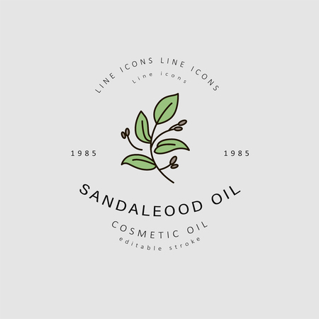 Vector icon and logo for natural cosmetics oil care dry skin. Editable outline stroke size. Line flat contour, thin and linear design. Simple icons. Concept illustration. Sign, symbol, element. Standard-Bild - 113854896