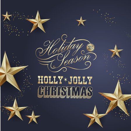 Elegant Christmas and happy New Year Background with Gold Shining decoration. Vector illustration Stock Vector - 126874376