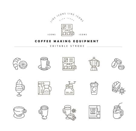 Icona di vettore e logo per attrezzature per la preparazione del caffè. Dimensione del tratto del contorno modificabile. Linea contorno piatto, design sottile e lineare. Icone semplici. Illustrazione di concetto. Segno, simbolo, elemento.