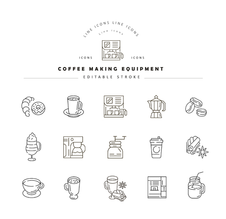 Vector icon and logo for coffee making equipment. Editable outline stroke size. Line flat contour, thin and linear design. Simple icons. Concept illustration. Sign, symbol, element. 矢量图像