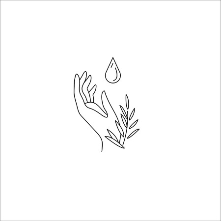 Vector icon and logo with hand for natural cosmetics and care dry skin. Editable outline stroke size. Line flat contour, thin and linear design. Simple icons. Concept illustration. Sign, symbol, element. Illustration